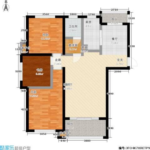 文锦新城3室1厅1卫1厨104.00㎡户型图