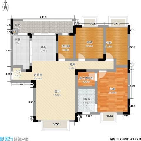 朵力欣元3室0厅2卫1厨97.00㎡户型图