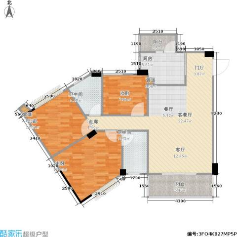 时代广场3室1厅2卫1厨120.00㎡户型图