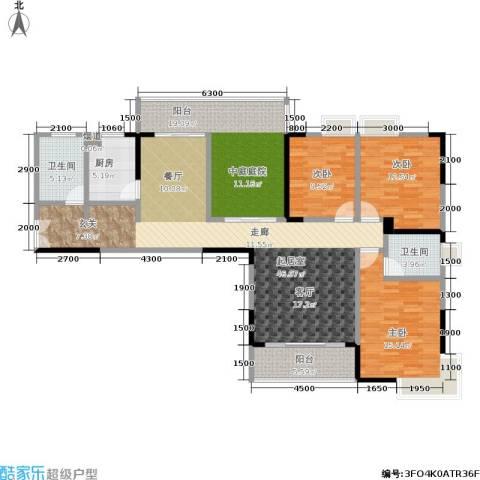 天健芙蓉盛世3室0厅2卫1厨122.30㎡户型图