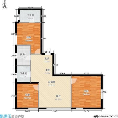 银帆国际3室0厅2卫1厨98.00㎡户型图