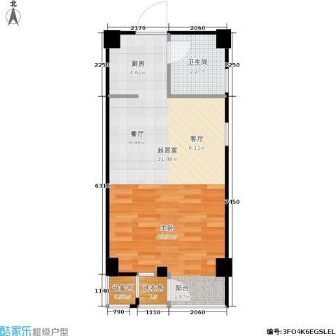 立方寓1卫0厨51.00㎡户型图