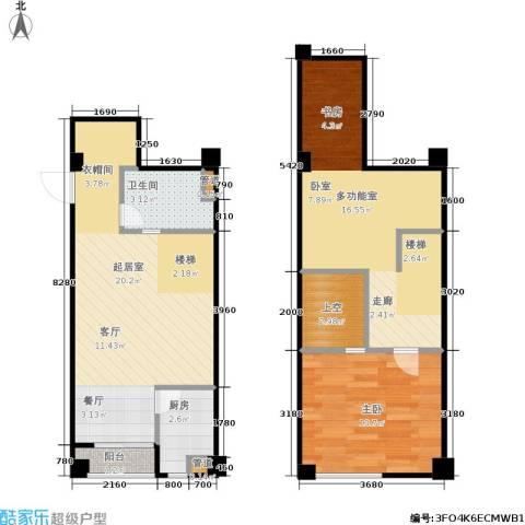 立方寓1室0厅1卫1厨64.00㎡户型图