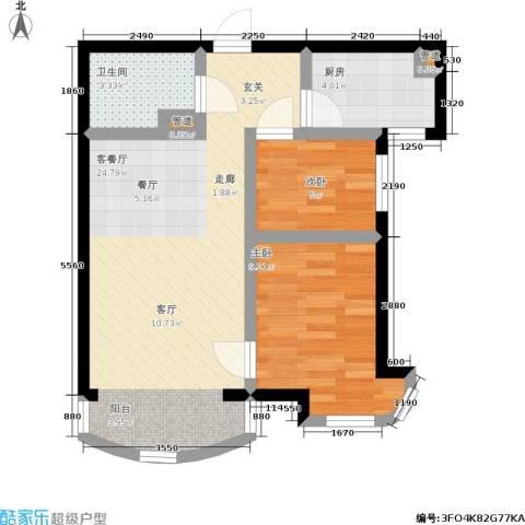 东北明珠2室1厅1卫1厨65.00㎡户型图