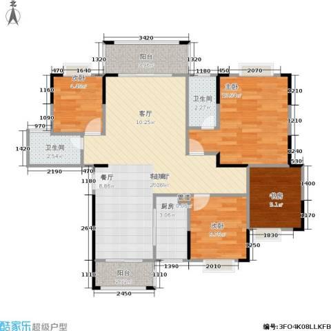 莲花湾畔4室1厅2卫1厨162.00㎡户型图