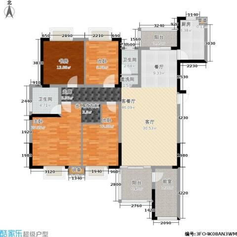 湘翰御舍4室1厅2卫1厨151.00㎡户型图