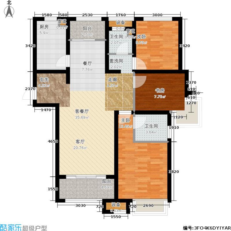 泉景天沅133.00㎡和园2#B2-1 三室两厅两卫户型3室2厅2卫