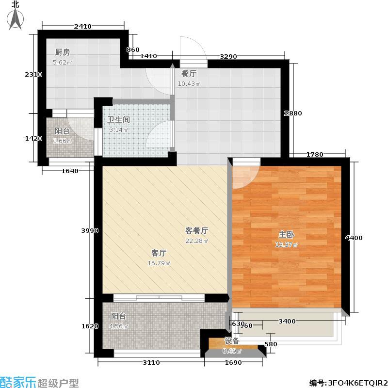 泉景天沅75.00㎡2号楼2单元,1室2厅1卫户型1室2厅1卫