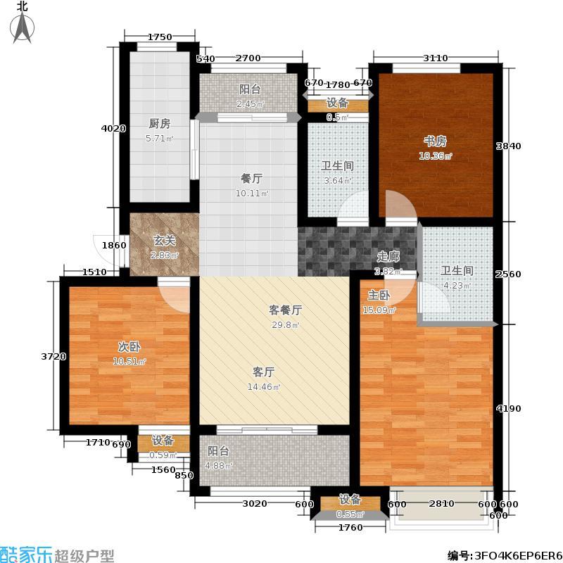 泉景天沅126.00㎡2号楼2单元,3室2厅2卫户型3室2厅2卫