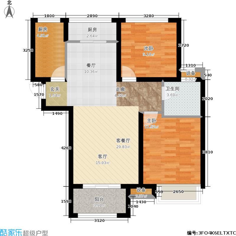 泉景天沅101.00㎡3、4号楼2单元,2室2厅1卫户型2室2厅1卫