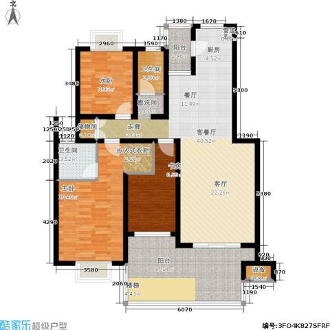 湘翰御舍3室1厅2卫0厨118.00㎡户型图