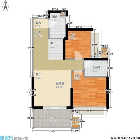 双水湾2室0厅1卫1厨80.00㎡户型图