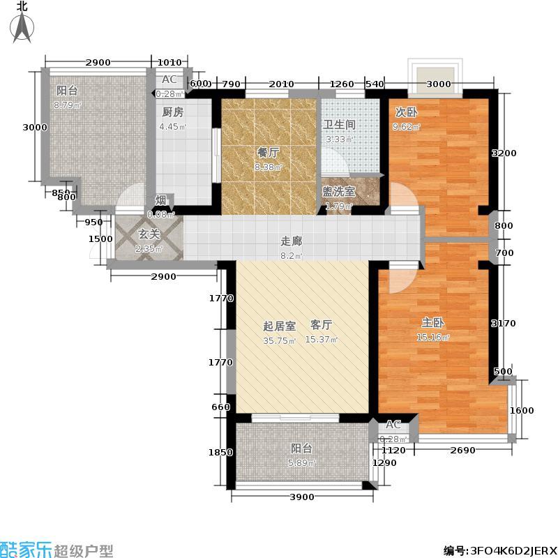 墨荷名邸107.00㎡2室2厅1卫 共107平米户型2室2厅1卫