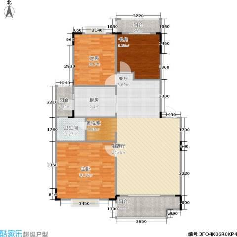 金座嘉园3室1厅1卫1厨94.32㎡户型图