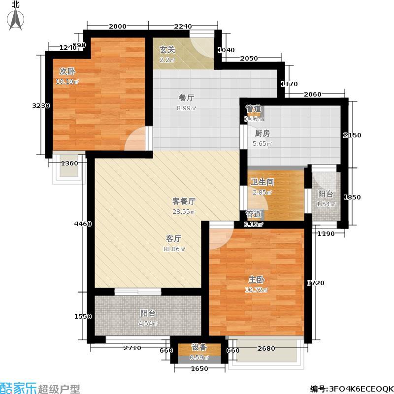 泉景天沅91.00㎡雅园1号楼-03 两室两厅一卫户型2室2厅1卫