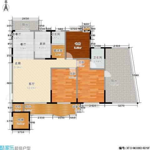 金座嘉园3室1厅2卫1厨94.00㎡户型图