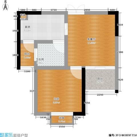 梨树新居1室1厅1卫1厨34.00㎡户型图