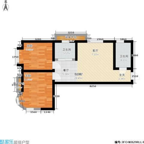 东北明珠2室1厅2卫0厨74.00㎡户型图