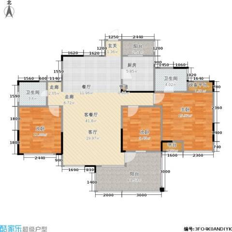 加新锋尚星空3室1厅2卫1厨107.90㎡户型图
