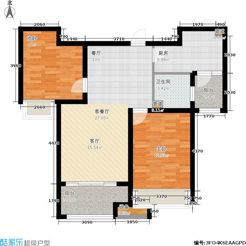 泉景天沅92.00㎡和园2#B2-2 二室两厅一卫户型2室2厅1卫