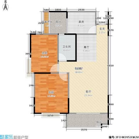 金座嘉园2室1厅1卫1厨81.00㎡户型图