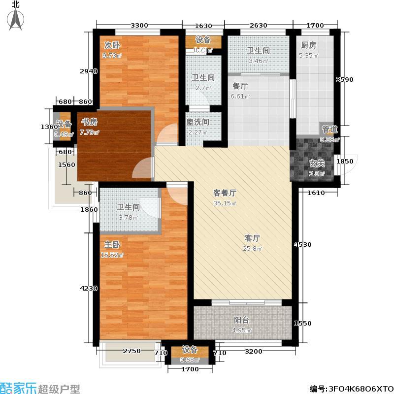 泉景天沅129.00㎡三室两厅两卫户型3室2厅2卫