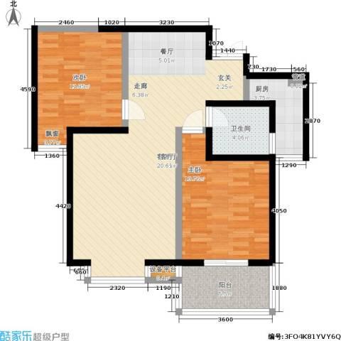 枫景观天下2室1厅1卫1厨103.00㎡户型图