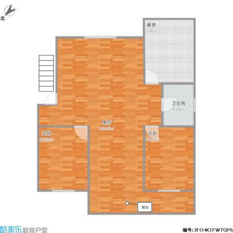 城东公寓2室1厅1卫1厨139.00㎡户型图