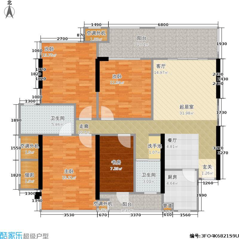 隆源雅居户型4室2卫1厨