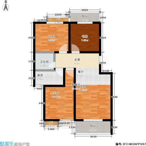 �灞新城3室1厅1卫1厨93.00㎡户型图
