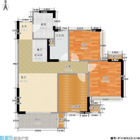 双水湾2室0厅1卫1厨89.00㎡户型图