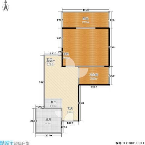 鼎盛国际公寓1室1厅1卫1厨63.00㎡户型图
