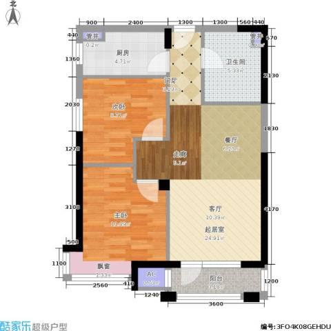 中海华庭2室0厅1卫1厨88.00㎡户型图