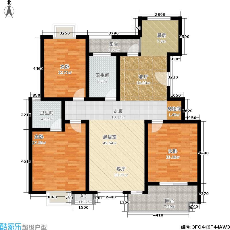 康顺园山庄133.00㎡H1户型3室2厅2卫