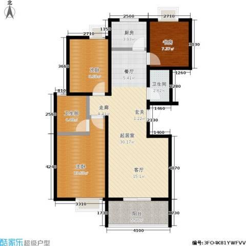 万华园上观苑3室0厅2卫1厨87.47㎡户型图