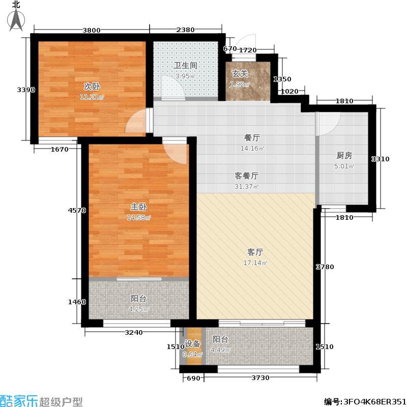 泉景天沅2号楼两室两厅一卫D户型