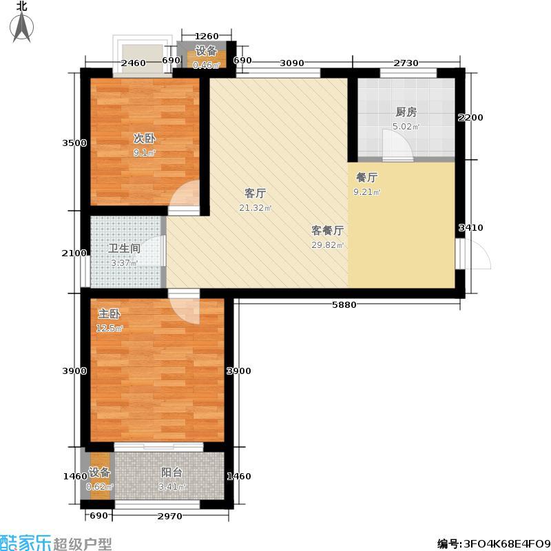 泉景天沅1、3、4、5号楼两室两厅一卫A户型