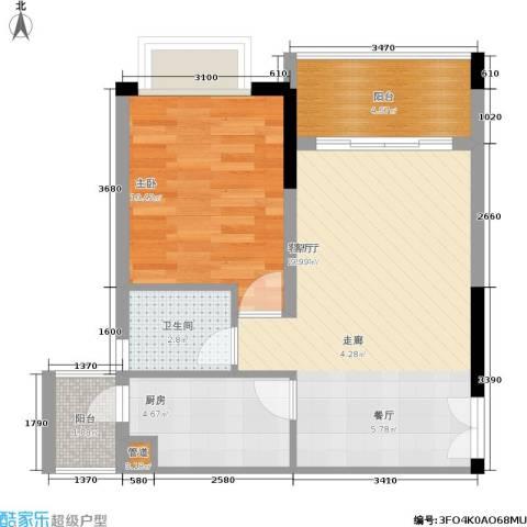 欧鹏K城1室1厅1卫1厨44.67㎡户型图