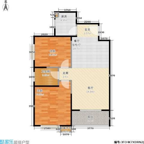 万国远鉴名筑2室1厅1卫1厨88.00㎡户型图