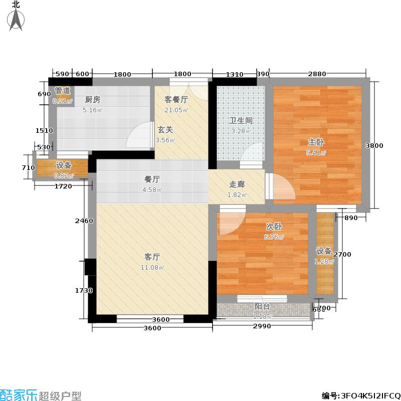 佰度SOHO一期单体楼标准层5号户型2室1厅1卫1厨