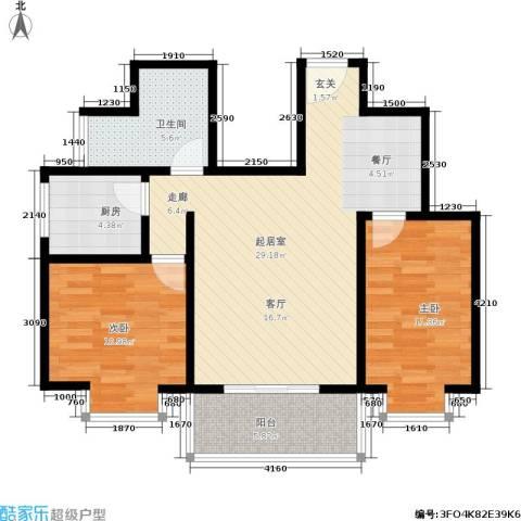 万华园上观苑2室0厅1卫1厨76.49㎡户型图