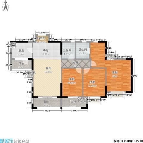 鼎盛时代广场3室1厅2卫1厨152.00㎡户型图