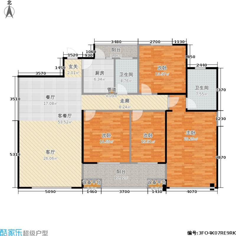 福天・水蓝湾户型4室1厅2卫1厨