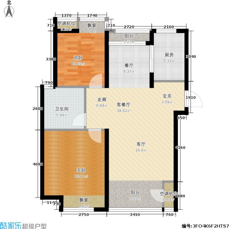 鲁商常春藤89.00㎡两室两厅一卫户型2室2厅1卫