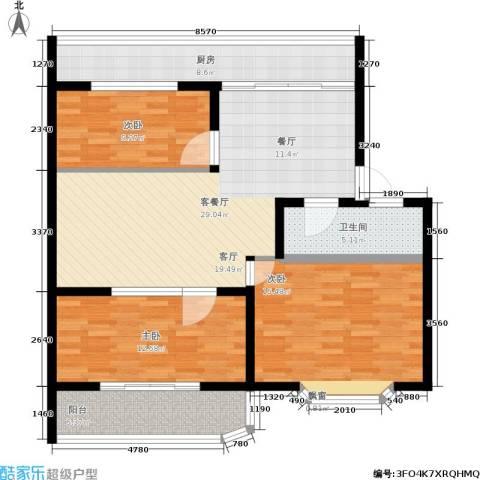 金田苑小区3室1厅1卫1厨100.00㎡户型图