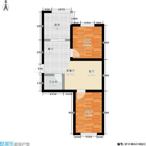 瀛滨寓家园2室1厅1卫1厨76.00㎡户型图