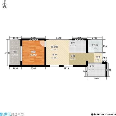 美立方1室0厅1卫1厨59.00㎡户型图