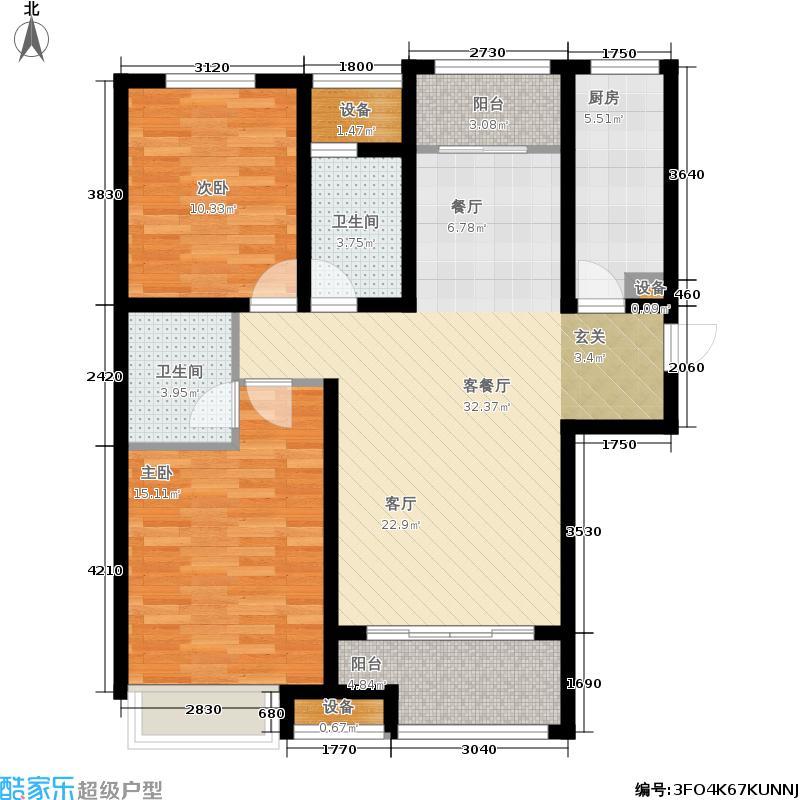 泉景天沅112.00㎡两室两厅二卫户型2室2厅2卫