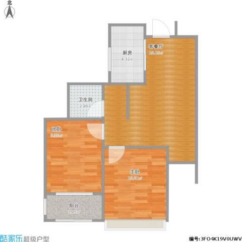 荣盛花语馨苑2室1厅1卫1厨66.00㎡户型图