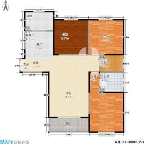 美都香域3室1厅2卫1厨118.00㎡户型图
